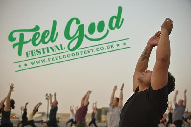 Men doing yoga at the Feel Good Festival