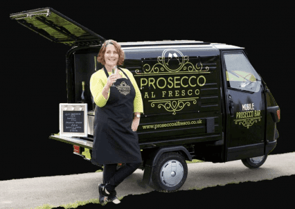 Prosecco al Fresco van with the owner standing in front